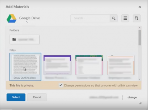 Google will change your sharing settigns when you link to a file from D2L.