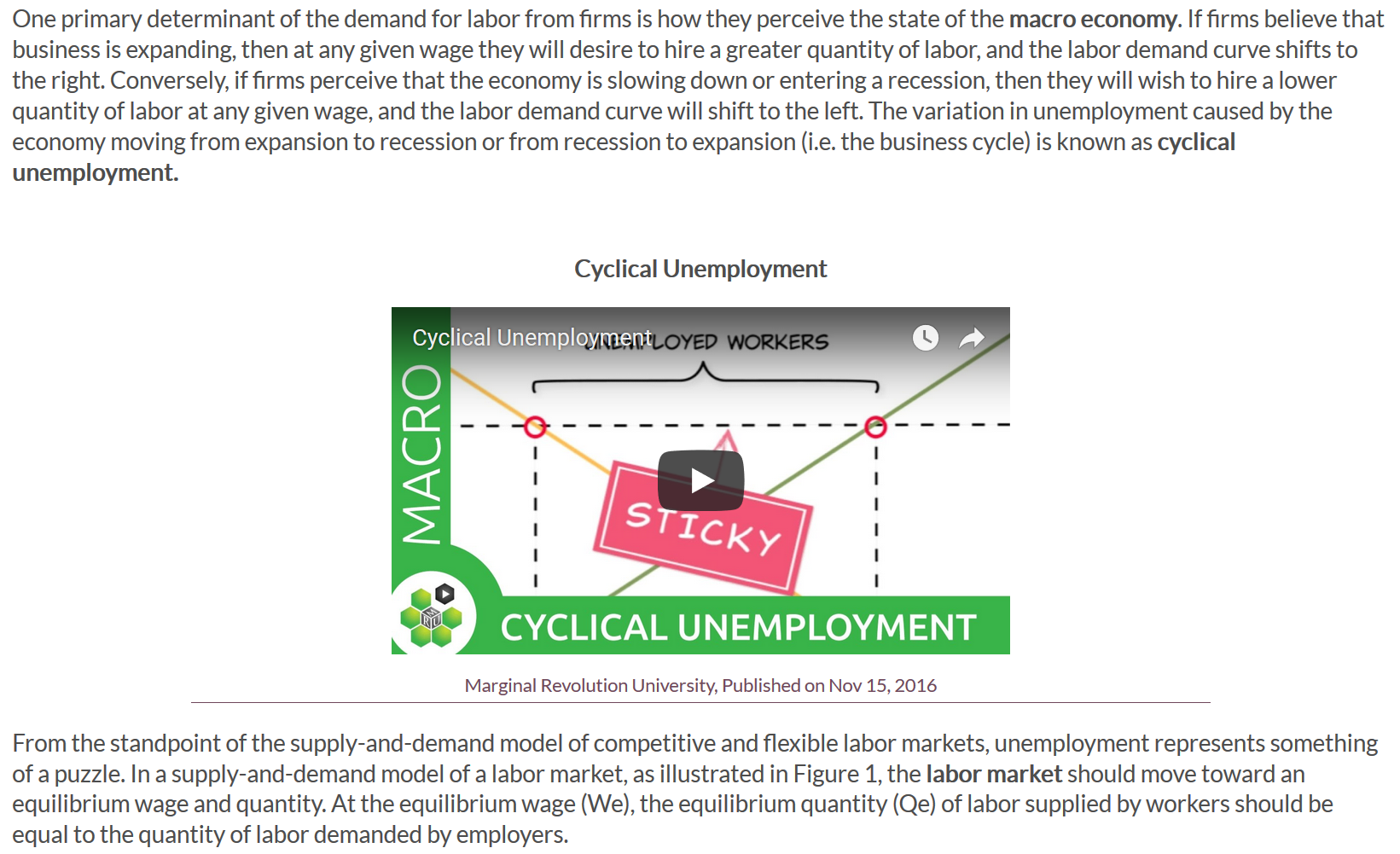 """An image of a video embedded using the code to add title and caption. The title states """"Cyclical Unemployement"""" and the caption reads the source and publish date."""