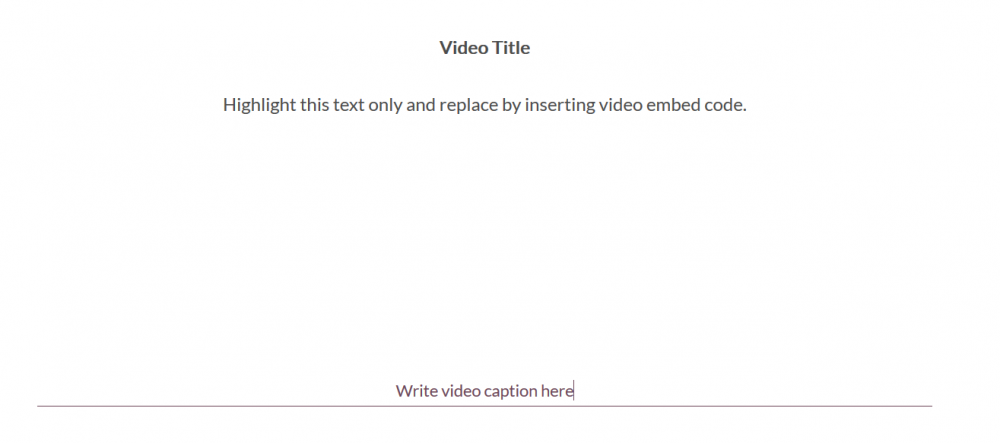 """Image of the inserted code. Visually there is extra space in between the sentence """"Highlight this text only and replace by inserting video embed code"""""""