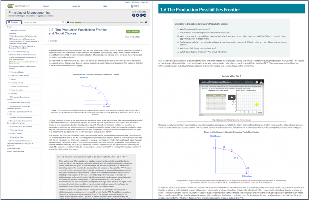 There are two images. The one of the right shows a chapter section from OpenStaxx and the right image shows the same content converted into the PCC stylesheet.