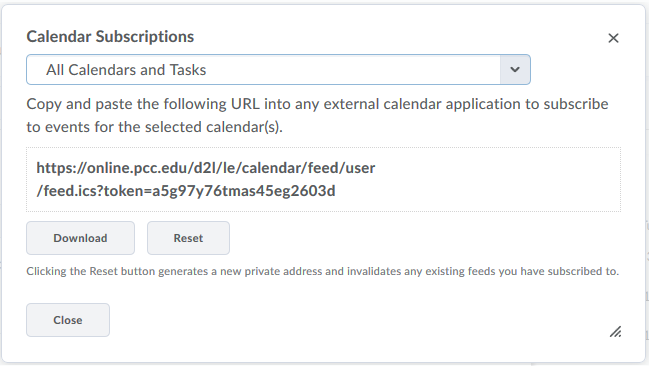Subscribe to calendar in D2L