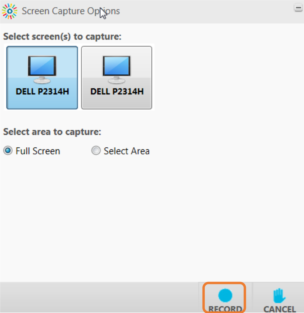 Window that allows to select a display or area of the screen for recording
