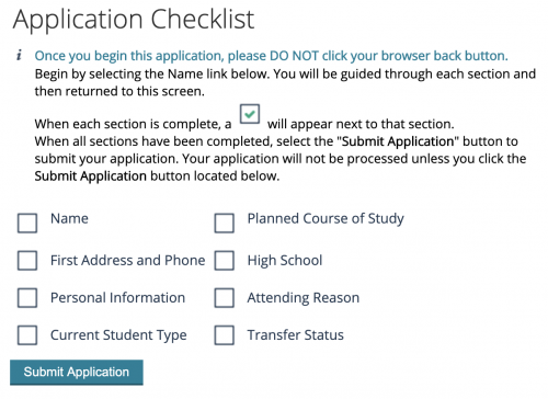 Screenshot of the application checklist
