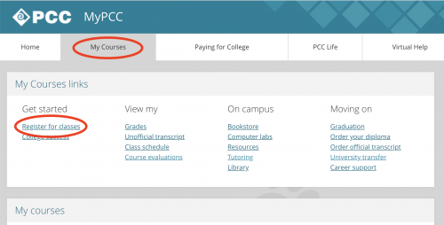 Screenshot of the MyPCC my courses tab, with the my courses tab and the register for classes link circled