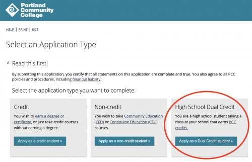 "Screenshot of the ""choose application type"" screen with Dual Credit circled"