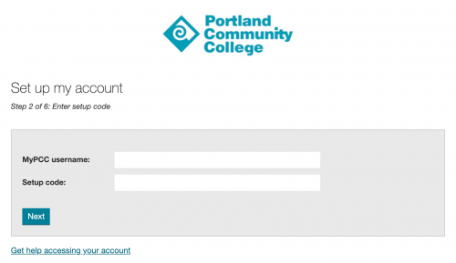 Screenshot of the account setup code screen