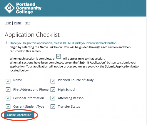 "Screenshot of the application checklist with all the boxes checked and the ""submit application"" button circled"