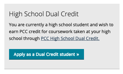 Dual Credit application type