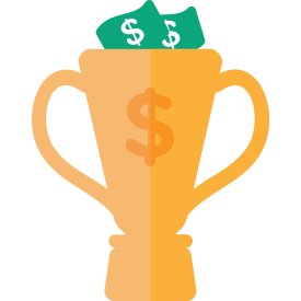 trophy with money