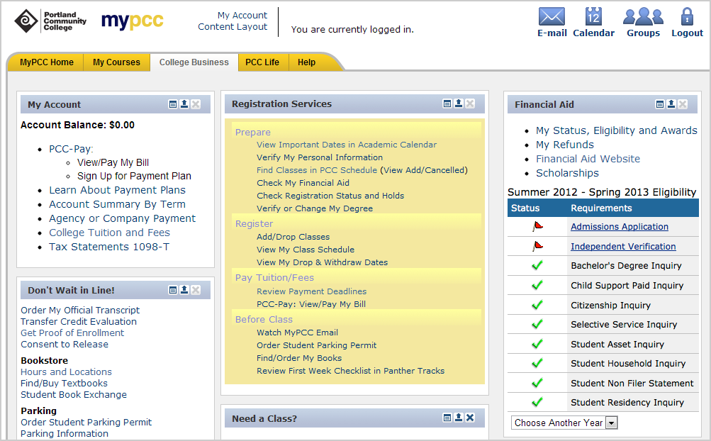 Screenshot of website and requirements table
