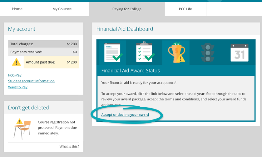 screenshot of mypcc paying for college tab with accept your award package circled