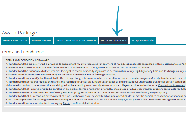 screenshot of award package with arrow pointing to terms and conditions tab