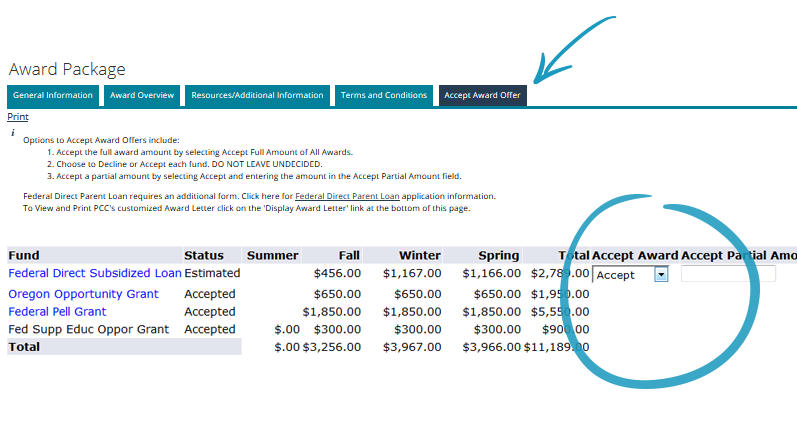 screenshot of accept award offer tab with accept award column drop down menu circled