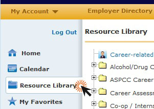 screenshot of career connections with resource library highlighted
