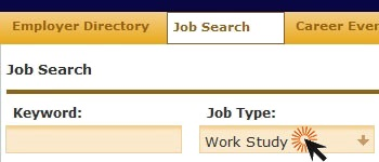 screenshot of career connections with work study selected under job search