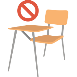 chair icon with deleted symbol