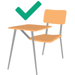 chair icon with green check