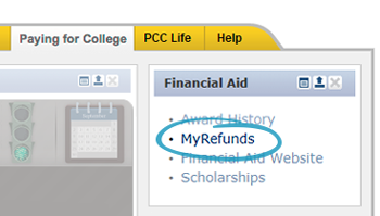 screenshot of myrefunds link in the financial aid channel