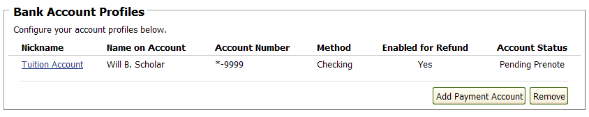 screenshot of my refunds bank account profiles