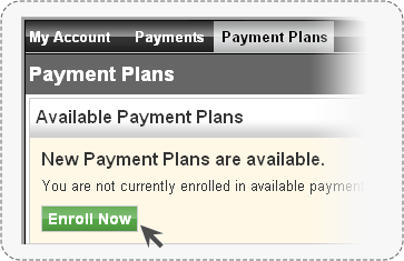 screenshot of PCC-Pay with mouse over enroll now button