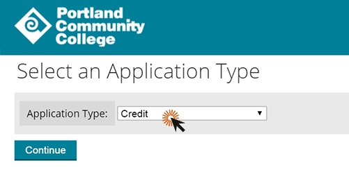 screenshot of admissions application
