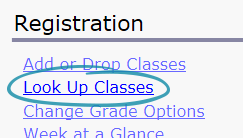 screenshot of registration page with look up classes circled