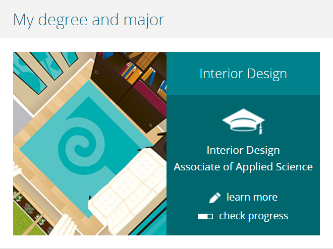 Screenshot of MyPCC channel  reading: My major, Interior Design, Design for accessiblity and aging in place.  One year certificate. Learn more.  Check progress.