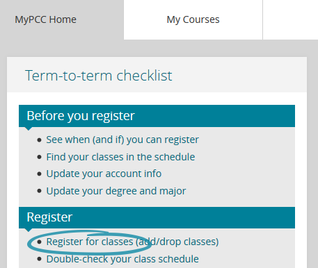 screenshot of mypcc home tab with register for classes circled