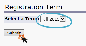 screenshot of registration term page with fall circled and clicking submit button