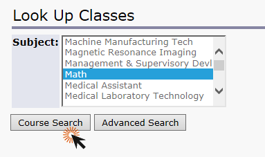 screenshot of look up classes page with math highlighted and clicking course search button