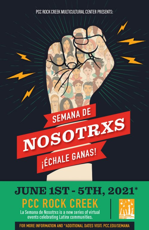 Poster in English with the event details and an illustration of a social justice fist with faces on a black background with lightning bolts
