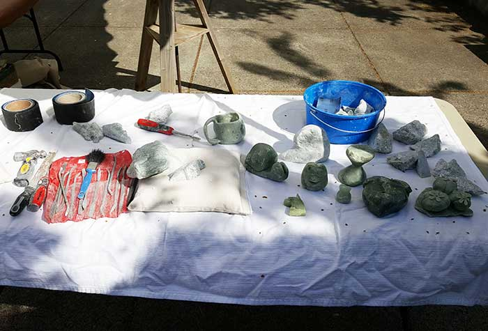 tools laid out for stone carving