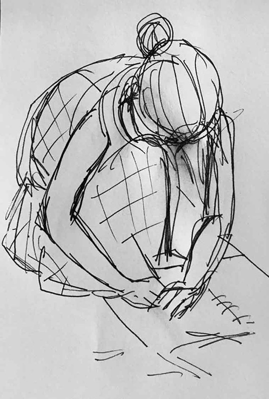 black and white sketch of a woman sketching