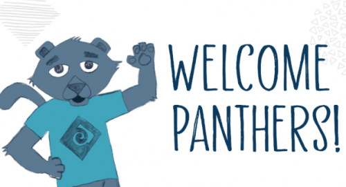 Welcome Panthers! says waving Poppie the Panther