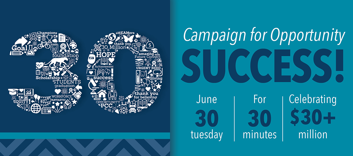 Campaign for Opportunity Success! Tuesday, June 30 for 30 minutes, celebrating $30,000,000+