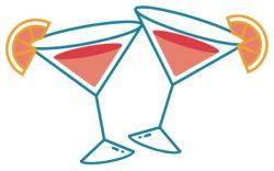 Tomorrowtini cocktail glasses illustration