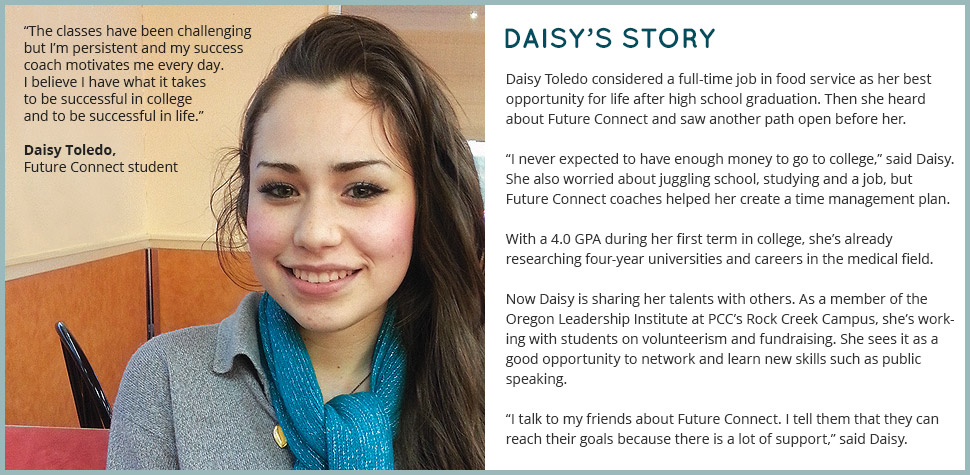 Daisy's Story: Daisy Toledo considered a full-time job in food service as her best opportunity for life after high school graduation. Then she heard about Future Connect and saw another path open before her. 'I never expected to have enough money to go to college,' said Daisy. She also worried about juggling school, studying and a job, but Future Connect coaches helped her create a time management plan. With a 4.0 GPA during her first term in college, she's already researching four-year universities and careers in the medical field. Now Daisy is sharing her talents with others. As a member of the Oregon Leadership Institute at PCC's Rock Creek Campus, she's working with students on volunteerism and fundraising. She sees it as a good opportunity to network and learn new skills such as public speaking. 'I talk to my friends about Future Connect. I tell them that they can reach their goals because there is a lot of support,' said Daisy. 'The classes have been challenging but I'm persistent and my success coach motivates me every day. I believe I have what it takes to be successful in college and to be successful in life.'