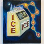 "Painting of yellow ice machine with red letters spelling ""ICE"" , with abstracted orange circle forms that are connected with orange lines that appear to come out of the ice machine. The painting background is dark blue."
