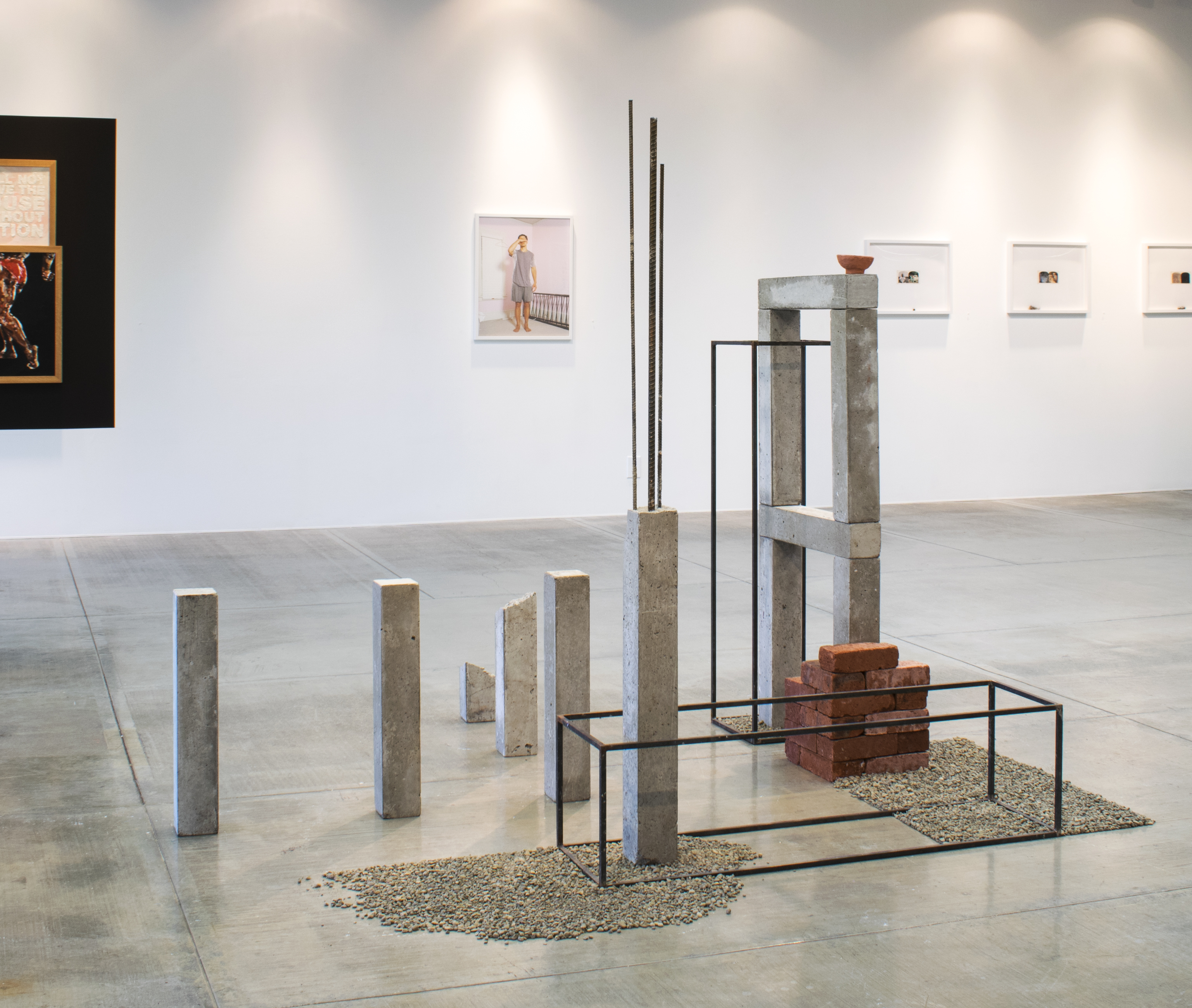 Hiro Toyo/Ricardo Nagaoka, Arranged Space I, 2018, cement, brick, gravel, steel, clay