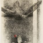 Charcoal and pastel drawing of dead bird on its back with a red rose in a jar of water beside it.