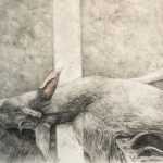 Charcoal and pastel drawing of dead deer laying on street