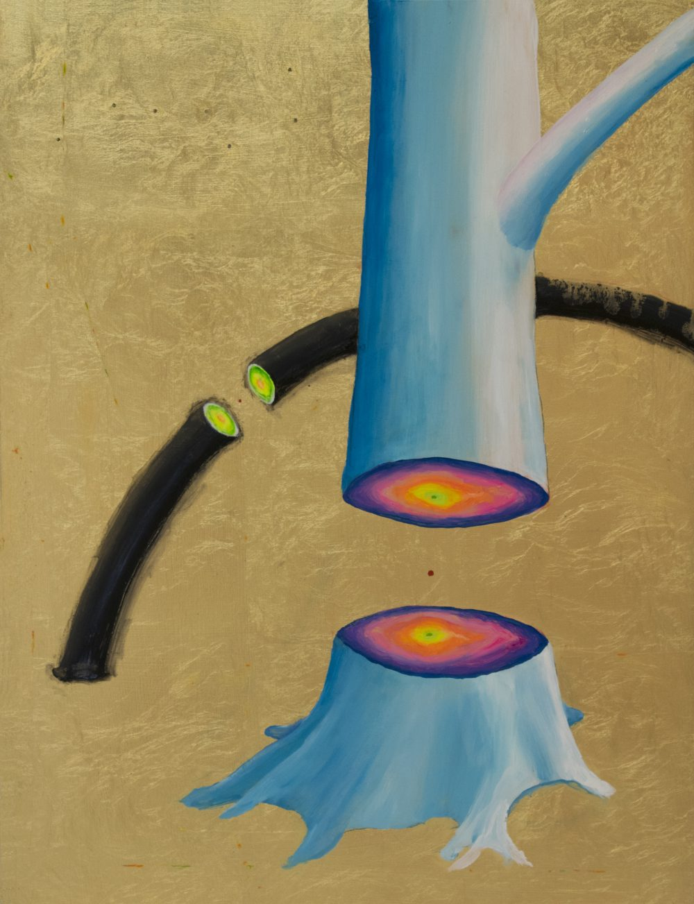 Painting of blue tree trunk cut in half revealing pink and yellow tree rings; gold leaf background; a black curved rod or stick is behind the tree, also cut in two pieces.