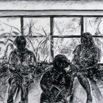 Charcoal drawing on white paper of three girls sitting and reading books; behind them is a grid with plant forms beyond.