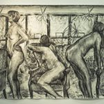 Large charcoal drawing of three female figures in room, one seated on chair in center, window with plants in background