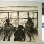 Panorama view of art in gallery, showing 4 large scale drawings of human figures on the left wall, a charcoal drawing of 3 children reading by window in the center, and on the right wall: 2 large charcoal drawings of figures, one large oil painting, and 4 framed watercolors.
