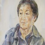 Watercolor portrait of elderly woman; showing her face looking to the left of the frame and including her shoulders