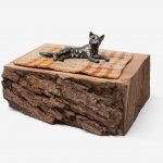 Companion Species (Ancient One), Cast bronze, reclaimed wool blanket (artist's grandmother's), Western walnut base, 2 x 6.25 x 3.25 in., 2017