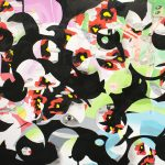 Detail view of abstract painting showing an overall pattern of black, curved shapes layered on pastel blue, green and pink shapes. There are red and yellow poppy flower forms and black and white eye shapes throughout.