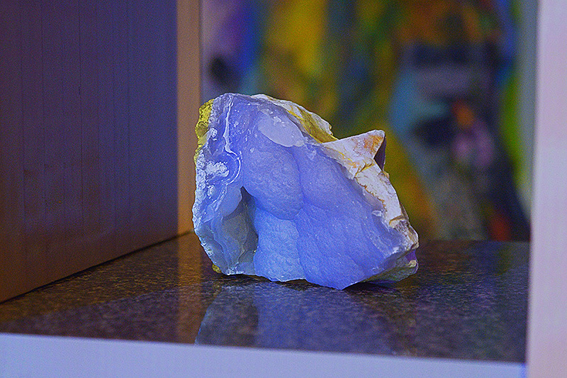 Decorative rock under black light