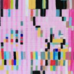 Detail view of larger wall installation. Abstract painting based on a grid, showing rectagular and square forms on a predominantly pink background. Colors include many shades of red, green,black, pink, yellow, blue, orange and white.